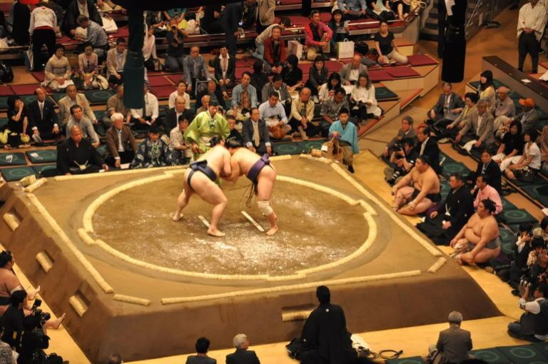 the origin and history of sumo wrestling After that, sumo wrestling events were held in the shrine grounds in the spring and fall taking this into account, there is a monument within the shrine grounds where the names of the yokozuna throughout history are engraved.