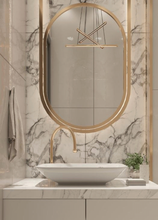 9 Lighting Ideas for Your Bathroom Design- Backlight Behind Mirrors