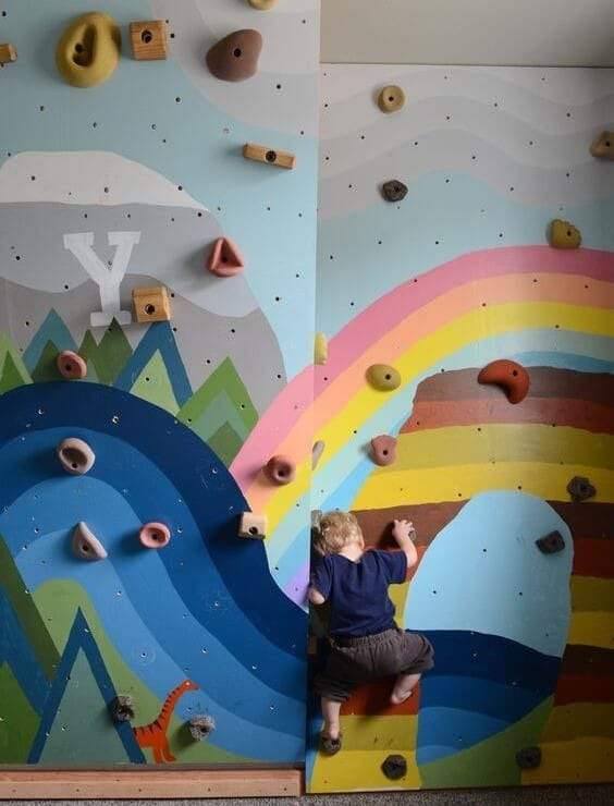 10 Wall Décor Ideas to Upgrade Your Room- Mirror-Climbing Wall for Kids